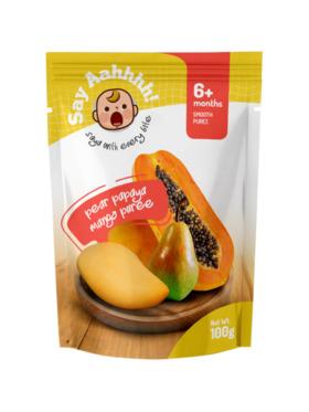 Say Aahhhh Pear Papaya Mango Puree (100g)