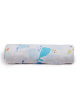 Nuborn.ph Whale Classic Muslin Swaddle Blanket