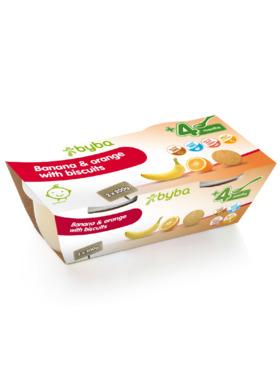 Byba Banana Orange with Biscuits Baby Fruit Puree Tub (2x200g)