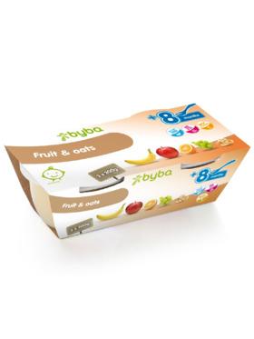 Byba Fruit & Oats Baby Fruit Puree Tub (2x200g)