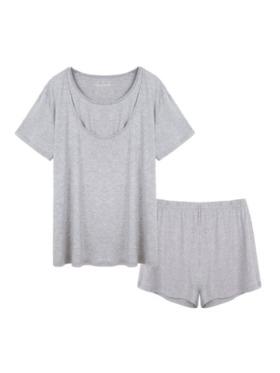 Linen & Homes Angel Nursing Friendly Lounge Wear Set (T-Shirt + Shorts)
