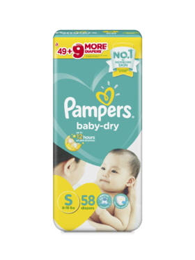 Pampers Baby Dry Taped Jumbo Small (58 pcs)