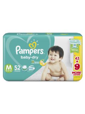 Pampers Baby Dry Taped Jumbo Medium (52 pcs)