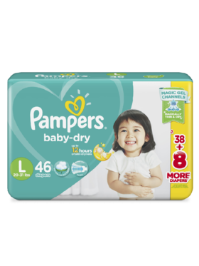 Pampers Baby Dry Taped Jumbo Large (46 pcs)
