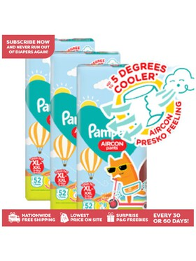 Pampers Aircon Pants Extra Large 52s x 3 packs (156 diapers) - Subscription