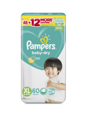 Pampers Baby Dry Taped Super Jumbo Extra Large (60 pcs)