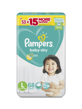 Pampers Baby Dry Taped Super Jumbo Large (68 pcs)