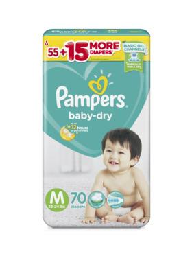 Pampers Baby Dry Taped Super Jumbo Medium (70 pcs)