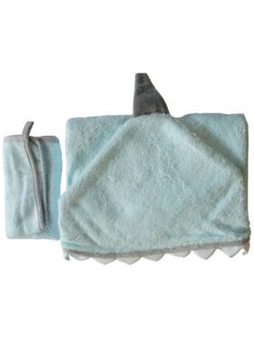 Nuborn.ph Bamboo Hooded Towel with Washcloth Set - Blue Shark