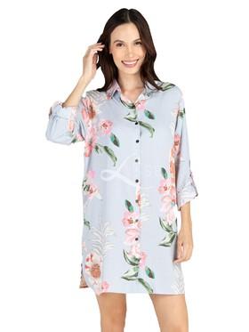 Lisse Cotton Floral Sleep Shirt Dress