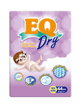 EQ Diapers and Wipes Dry Econo Pack Tape Diaper New Born (44 pcs)