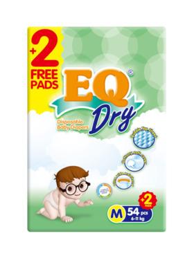 EQ Diapers and Wipes Dry Jumbo Pack Tape Diaper Medium (54 pcs)