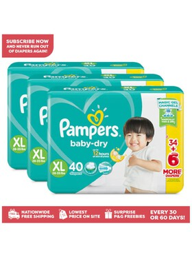 Pampers Baby Dry Taped Jumbo Extra Large Bundle (3 x 40 pcs) - Subscription