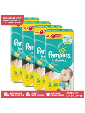 Pampers Baby Dry Taped Small Bundle (4 x 58pcs) - Subscription