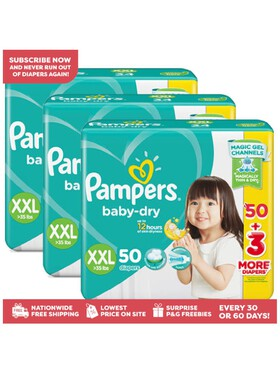 Pampers Baby Dry Taped XXL Bundle (3 x 50pcs)- Subscription