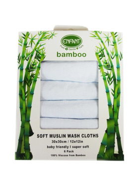 Enfant Bamboo Baby Soft Wash Cloth / Face Towel (6-Pack)