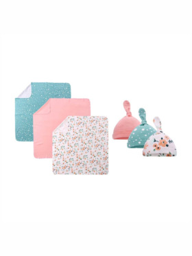 Little Tots PH Floral 100% Cotton Blanket and Beanie Hat (Set of 6)