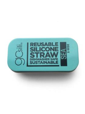 GoSili Reusable X-Wide Silicone Straw with Travel Tin Case