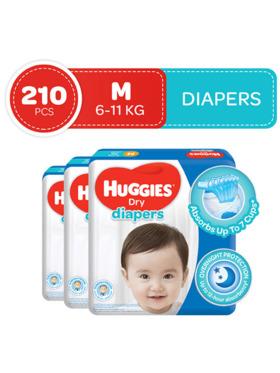 Huggies Dry Diapers Medium (70s) Bundle of 3