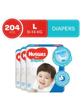 Huggies Dry Diapers Large (68s) Bundle of 3