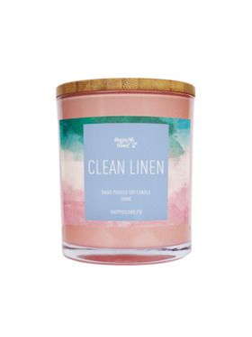 Happy Island Clean Linen Soy Candle (10oz)