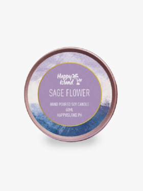Happy Island Sage Flower Soy Candle (2oz)
