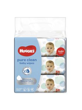 Huggies Pure Clean Baby Wipes 64s Bundle of 3