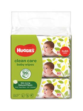 Huggies Clean Care Baby Wipes 80s Bundle of 3