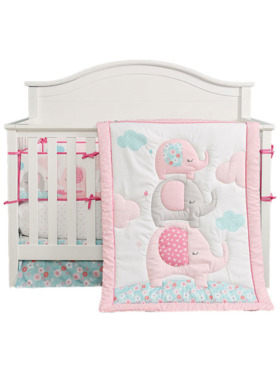 Juju Nursery Spring Elephants 7-Piece Crib Bedding Set