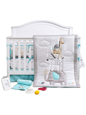 Juju Nursery Balancing Animals 7-Piece Crib Bedding Set
