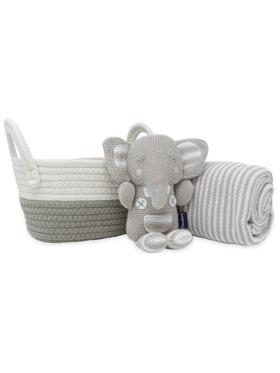 Living Textiles Cotton Gift Basket – Theodore Knit Toy + Stripe Blanket
