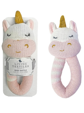 Living Textiles Knitted Rattle – Kenzie Unicorn