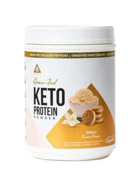 Level Up Nutra Vanilla Sweet Cream Grass Fed Keto Protein with Collagen (24 Servings)