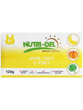 Nutridel Baby Food Banana Squash Spinach Infant Cereal 120g (3-Pack)