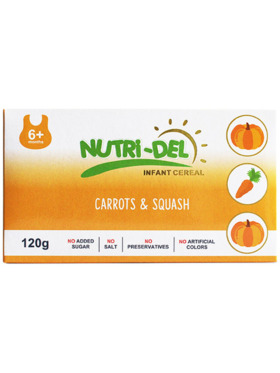 Nutridel Baby Food Carrots and Squash Infant Cereal 120g (3-Pack)