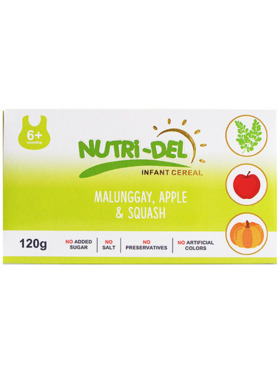 Nutridel Baby Food Malunggay Apple Squash Infant Cereal 120g (3-Pack)