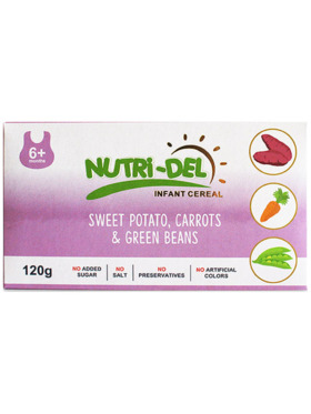Nutridel Baby Food Sweet Potato Carrot and Green Beans Infant Cereal 120g (3-Pack)