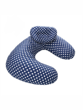 Little Tots PH Navy Polka Nursing Pillow Removable Cover with Small Detachable Pillow