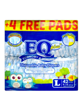 EQ Diapers and Wipes Plus Jumbo Pack Tape Diaper Large (42 pcs)