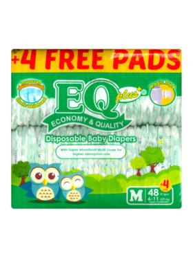 EQ Diapers and Wipes Plus Jumbo Pack Tape Diaper Medium (48 pcs)