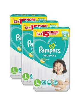Pampers Baby Dry Taped Large Bundle 3 x 68pcs (204 pcs)