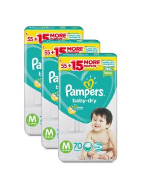 Pampers Baby Dry Taped Medium Bundle 3 x 70pcs (210 pcs)