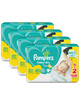 Pampers Baby Dry Taped Newborn Bundle 4 x 40pcs (160 pcs)