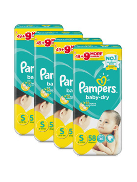 Pampers Baby Dry Taped Small Bundle 4 x 58pcs (232 pcs)