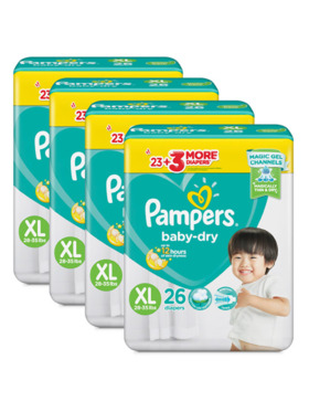 Pampers BaBaby Dry Taped Value Extra Large Bundle 4 x 26pcs (104 pcs)