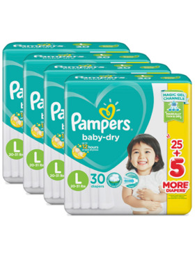 Pampers Baby Dry Taped Value Large Bundle 4 x 30 pcs (120 pcs)
