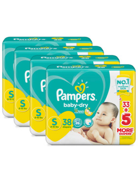 Pampers Baby Dry Taped Value Small Bundle 4 x 38pcs (152 pcs)