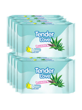 Tender Love Aloe Vera Cleansing Wipes 80's (8-Pack)