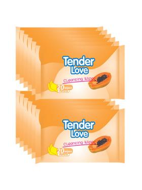 Tender Love Papaya Cleansing Wipes 20's (12-Pack)