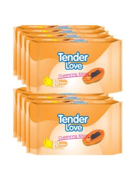 Tender Love Papaya Cleansing Wipes 80's (8-Pack)